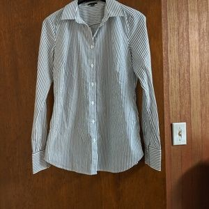Ann Taylor Blue Striped Button-up